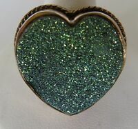 Sajen by Marianna and Richard Jacobs Green Drusy Bronze Hear Shape Ring size 8