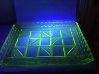 1930s Vintage Art Deco Uranium Green Glass Trinket Tray Excellent 29x20cm