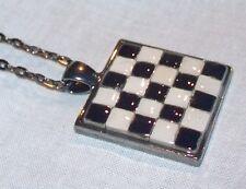 Handmade Mosaic Tile Gunmetal Pendant Necklace Black White Deco Checkerboard
