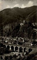 Hornberg Schwarzwald s/w Postkarte 1961 Panorama mit Schloß Eisenbahnbrücke