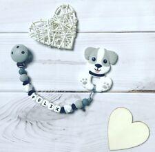 Schnullerkette mit Namen Wunschname Beißkette Beißring aus Silikon Hund grau