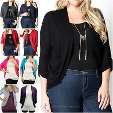 1XL 2XL 3XL Rolled Up Elbow 3/4 Sleeve Rayon Open Cardigan Light Sweater 8400X