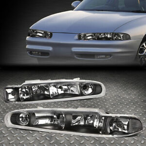 FOR 98-02 OLDSMOBILE INTRIGUE BLACK HOUSING CLEAR CORNER HEADLIGHT HEAD LAMPS