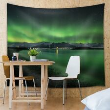 View of the Mountains and the Green Northern Lights - Fabric Tapestry - 51x60