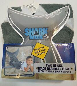 """Discovery Shark Week Two In One Beach Pool Bath Blanket Towel 22.5"""" X 55"""" NEW"""