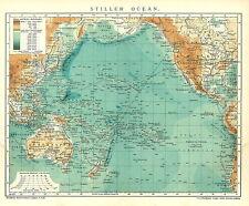 Alte Landkarte 1903: Stiller Ocean. Ozean Höhen und Tiefen Meeresspiegel (B14RA)