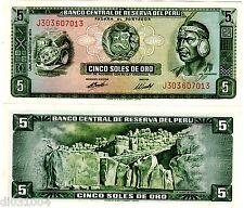 Perou PERU Billet 5 SOLES DE ORO 1974 P99 INCA PACHACÜTEC NEUF UNC