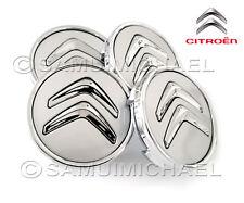 CITROEN ALLOY WHEEL CENTRE CAPS x4 SILVER & CHROME 60mm PICASSO/C1/2/3/4/5/8/DS3