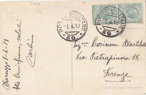 ALBANIA  1919 ITALIAN FORCES 'P.M.50' POSTCARD FROM DURAZZO SENT TO FIRENZE