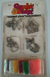 Vintage Makit & Bakit 4 Christmas Suncatchers Kit..Snowman, Gingerbread Boy & Ho