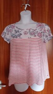 Joules Size 14 Mixed Print Smart Summer Top, Floral & Stripes