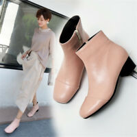 Women's Square Toe Ankle Boots Solid Color Chunky Heel Casual Shoes Fluff Lining