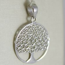 18K WHITE GOLD TREE OF LIFE ROUND FLAT PENDANT CHARM, 0.9 INCHES MADE IN ITALY