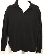 Sorrani Cashmere Sweater Black Long Sleeve Three Button Neck Size X- Large 54