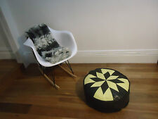 Beautiful Leather Ottoman for use as Coffee Table or Pouf or Pouffe - Citrus