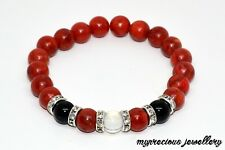 Red Coral Black Onyx Opalite Natural Gemstone Bracelet Stone Healing Reiki Gift