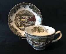 Johnson Bros Friendly Village Lot of 4 Teacups & Saucers The Ice House England