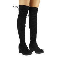 Womens Ladies Thigh High Over The Knee Long Cuban Mid Heel BOOTS Shoes Size UK 8 / EU 41 / US 10 Black Lace
