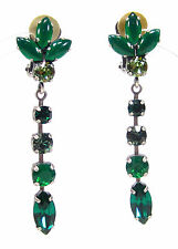 SoHo® Ohrclips Ohrhänger bohemia glas navette & geschliffene Kristalle emerald