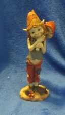 "Pixie Elf Gnome Carrying Mushroom 8"" Tall"