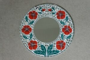 Superb Hand Crafted Mosaic Mirror Poppys Design Red Color 50 Cm Wide