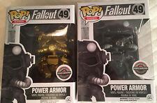 Funko Pop Games Fallout Power Armor Gold Gamestop Exclusive + Normal Power Armor