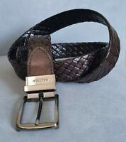 """Nautica Mens Brown Woven Braided Leather Belt Silver Tone Buckle 1"""" Wide Sz 36"""