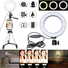 """6"""" Dimmable LED Video Ring Light Camera Lamp with Tripod   + Mobile Phone Holder"""