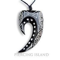 Tribal Amulett Anhänger Kette Horn Knochen Maori Design PB124