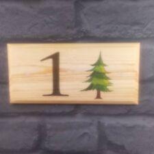 Personalised Fir Tree House Name Number Plaque / Sign / Gift - Home Garden Door
