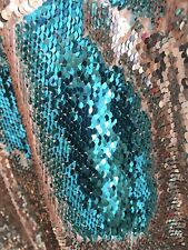 "Rose Gold & Turquoise Two Tone Reversible Mermaid Sequins Fabric BTY 60"" Wide"