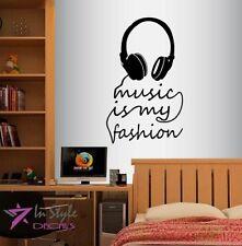 Vinyl Decal Music is My Fashion Quote Headphones Dj Room Decor Art Sticker 1469