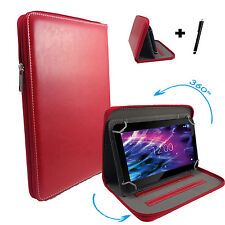 360 ° girevoli di 10.1 Pollici Tablet Custodia TREKSTOR SURFTAB TWIN Zipper Rosso