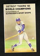 Detroit Tigers--1985 Pocket Schedule--Schneider's Sport Shops