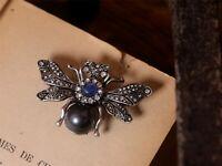 Broche Pin Argenté Noir Bleu Marine Strass Insecte Abeille Cigale Vintage XZ6