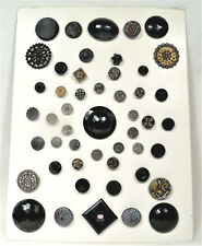 Vintage Sewing Buttons - Lot of 50 Black Glass , Plastic, Stones, Openwork