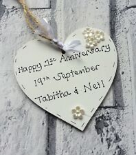 personalised handmade 1st wedding anniversary gift/present- wooden heart