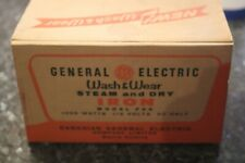 VINTAGE GENERAL ELECTRIC WASH WEAR IRON AND OLD BOX  LOOK!!!!