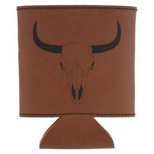 Bull Cow Steer Skull Southwestern Etched Leatherette Can Cooler