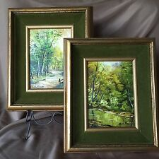 Two Beautiful Medium Sized Kaar Signed Oil Paintings - Shades Of Green & Gold