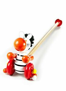 Mousehouse Push Along Toy Zebra Traditional Wooden Toy for Toddler Boy or Girl
