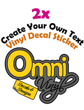2x custom text vinyl decal sticker make your own personalised car wall window