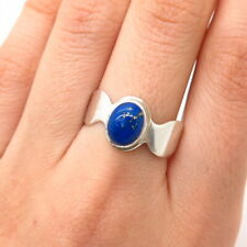 925 Sterling Silver Real Lapis Lazuli Gemstone Oval Ring Size 9