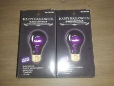Happy Halloween BLACK LIGHT BULBS set of 2 GREAT FOR PARTIES