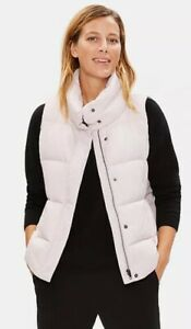 Eileen Fisher Small Funnel Neck Nylon Down Puffer Vest Ceramic $298 Pockets NWT