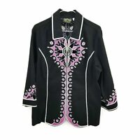 Bob Mackie Wearable Art Black/Pink Embroidered Zip Up 3/4 Sleeve Jacket Womens L