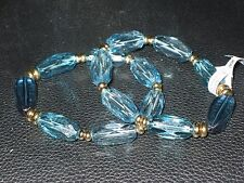 2 NWT Coldwater Creek Teal  Bead Bracelets Costume Jewelry Stretch