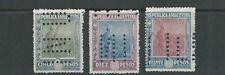 ARGENTINA 1912-13 SUNRISE (Scott 202-4 high values) F/VF PUNCH cancel