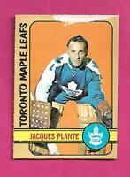 1972-73 OPC # 92 LEAFS JACQUES PLANTE GOALIE GOOD CARD (INV# D3369)