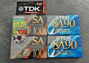 NEW !!! TDK SA 100 X 2 & TDK SA 90 X 2 HIGH BIAS CASSETTE  TAPES  FOR CD SEALED